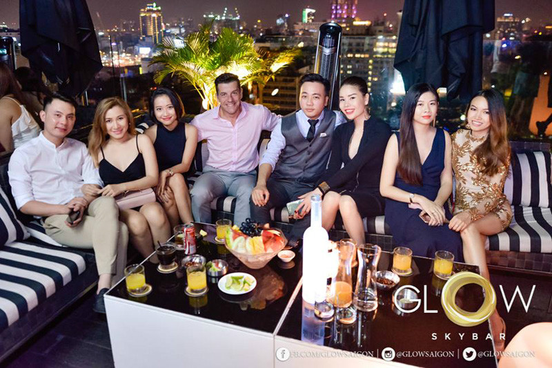 friends at Glow Sky bar Saigon