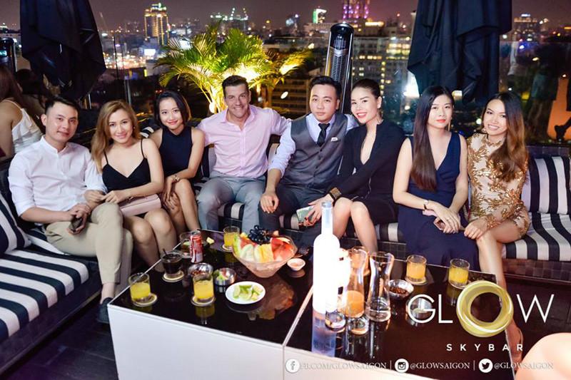 friends at Glow Sky bar Saigon