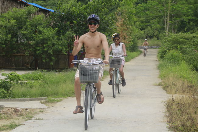 biking in Viet Hai Village
