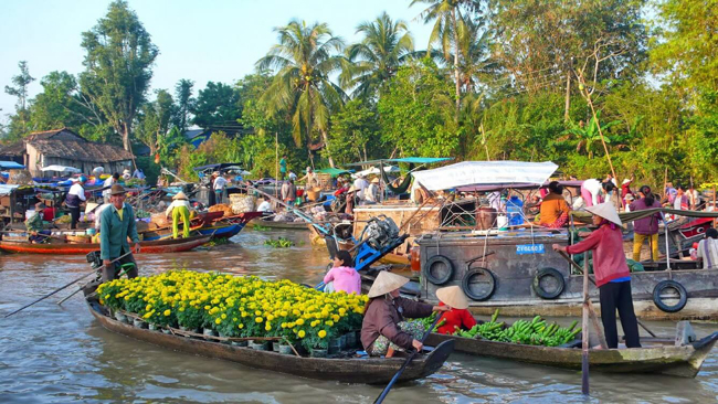 Go shopping around Vinh Long floating market