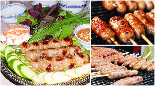 Grilled meatrolls in Cai Rang